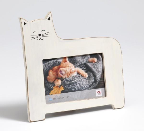 Portraitrahmen Katze, weiß