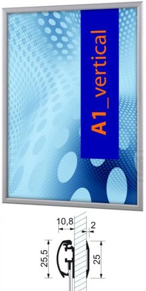 Aluminium-Klapprahmen 25 mm für Fensterscheibe