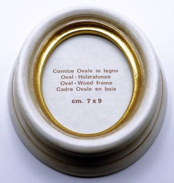 Ovalrahmen Elfenbein mit Goldlippe
