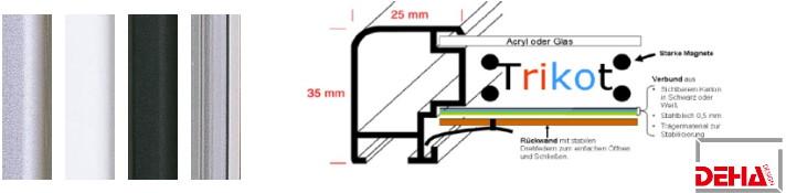 Aluminium-Bilderrahmen Profil 55 Trikotrahmen (Deha)