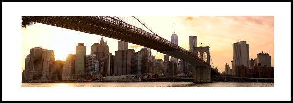 Brooklyn Bridge Sunset - Gerahmtes Bild mit Alurahmen C2