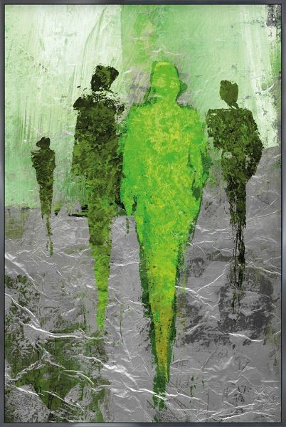 Abstract Figures Green - Gerahmtes Bild mit Alurahmen ALPHA