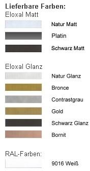 DEHA-Wechselrahmen Farbübersicht Profil 11