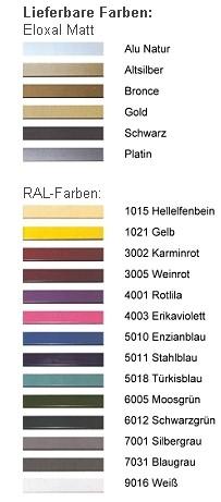 DEHA-Wechselrahmen Farbübersicht Profil 5