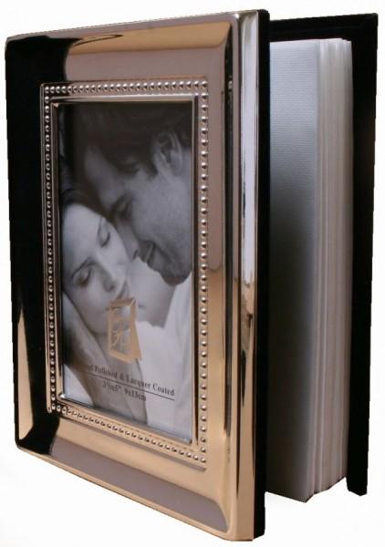 Fotoalbum Perlrand, (100), glänzend versilbert