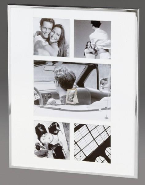 Portraitrahmen Amsterdam für 5 Bilder, schmaler Rand, glänzend versilbert
