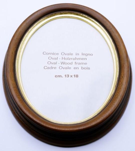 Ovalrahmen Braunschwarz mit Goldlippe