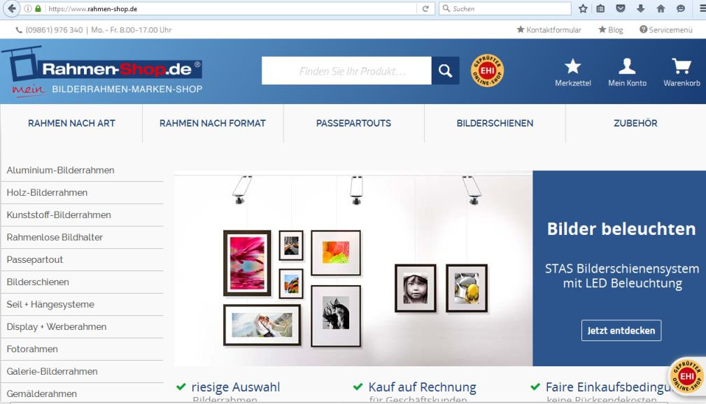 Rahmen-Shop.de mit neuem Design und neuer Software